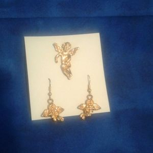 Guardian Angels pin and earrings